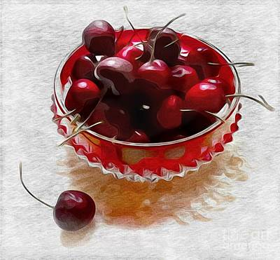 Poster featuring the digital art Life Is A Bowl Of Cherries by Alexis Rotella