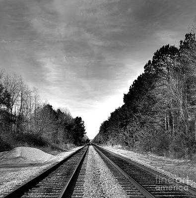 Life On The Rails Bnw Poster