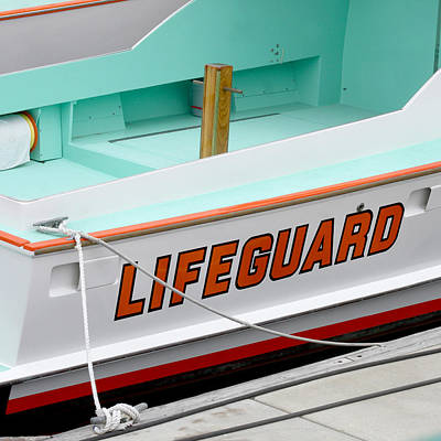 Lifeguard Rescue Boat Poster by Art Block Collections