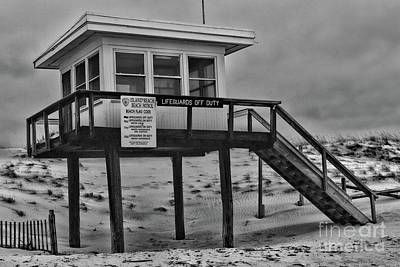 Poster featuring the photograph Lifeguard Station 1 In Black And White by Paul Ward