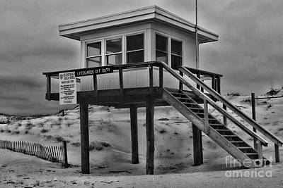 Poster featuring the photograph Lifeguard Station 2 In Black And White by Paul Ward