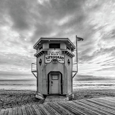Poster featuring the photograph Lifeguard Station In Black And While by Cliff Wassmann