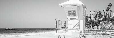 Lifeguard Tower Black And White Panorama Photo Poster by Paul Velgos