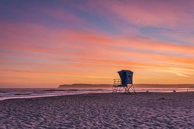 Lifeguard Tower Sunset Poster