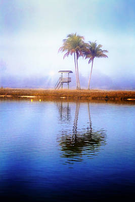Lifeguard Tower Under The Palms Poster by Debra and Dave Vanderlaan