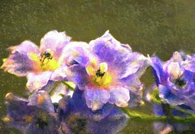 Light Blue Belladonna Delphiniums Poster by Sandi OReilly