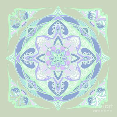Light Green Vector Mandala  Poster