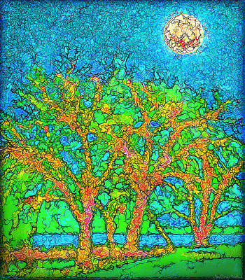 Poster featuring the digital art Light Of The Radiant Sun - Trees In Boulder County Colorado by Joel Bruce Wallach