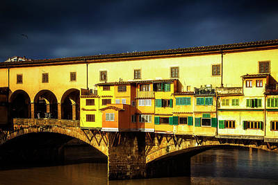 Light On The Ponte Vecchio Poster by Andrew Soundarajan