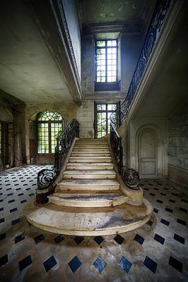 Poster featuring the photograph Light On The Stairs - Abandoned Castle by Dirk Ercken