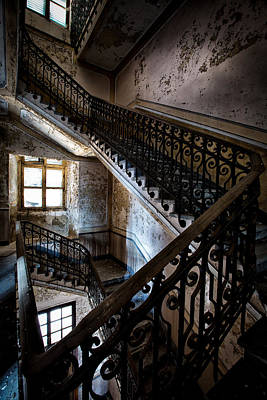 Light On The Stairs - Urban Exploration Poster