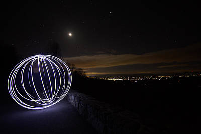 Light Painting On Skyline Drive Poster