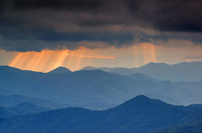 Light Rays On The Blue Ridge Parkway Poster by Derek Thornton