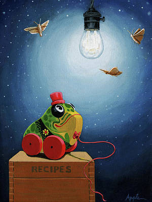 Poster featuring the painting Light Snacks Original Whimsical Still Life by Linda Apple