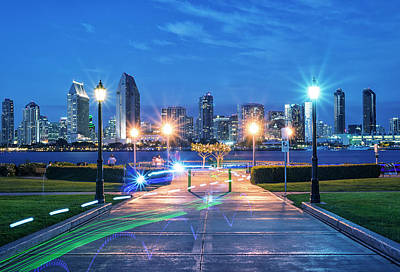Light Streaks, Lampposts, And The Skyline Poster by Joseph S Giacalone