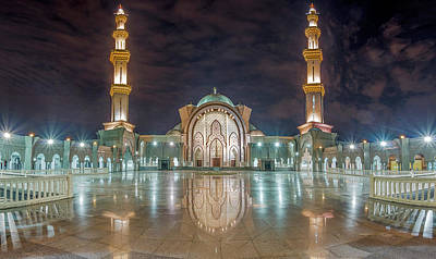 Poster featuring the photograph Lighted Federal Territory Mosque  by Pradeep Raja Prints