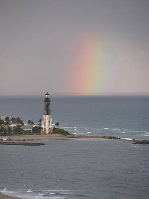 Lighthouse And Rainbow Poster