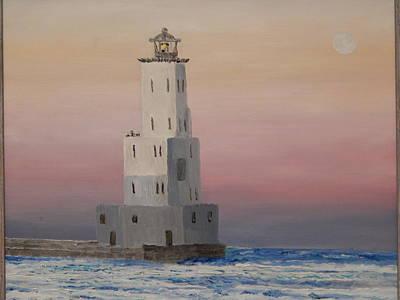 Lighthouse At Dusk Poster by Robert Schmidt