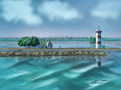 Lighthouse At Lake Conroe Poster