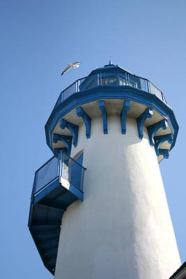 Lighthouse At Marina Del Rey Poster by Art Block Collections