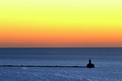 Poster featuring the photograph Lighthouse At Sunrise On Lake Michigan by Zawhaus Photography