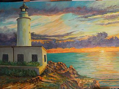 Lighthouse At Sunrise Poster by Robert Schmidt
