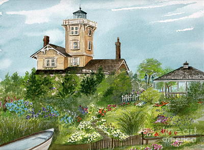 Poster featuring the painting Lighthouse Gardens  by Nancy Patterson