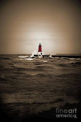 Lighthouse Glow Sepia Spot Color Poster