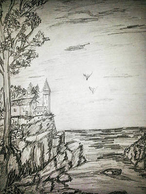 Lighthouse In Maine Poster by Carlene Harris