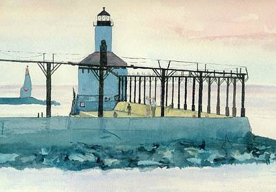Poster featuring the painting Lighthouse In Michigan City by Lynn Babineau
