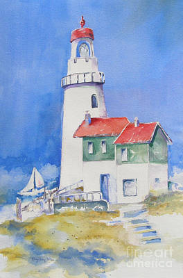 Poster featuring the painting Lighthouse by Mary Haley-Rocks
