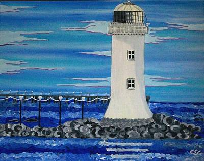 Poster featuring the painting Lighthouse On The Shannon by Carolyn Cable