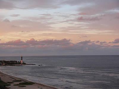 Lighthouse Peach Sunset Poster