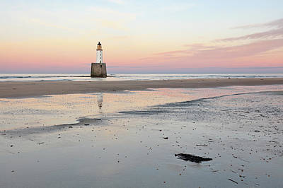 Poster featuring the photograph Lighthouse Sunset - Rattray Head by Grant Glendinning