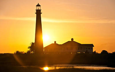 Lighthouse Sunset Poster by John Collins
