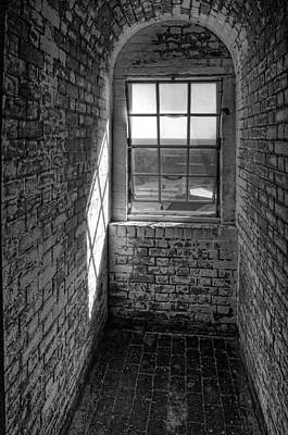 Lighthouse Window  Black And White Poster by Peter Tellone