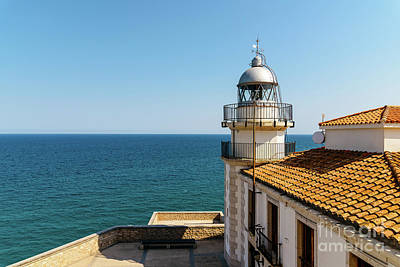 Lighthouse With Mediterranean Sea As Background Poster by Radu Bercan