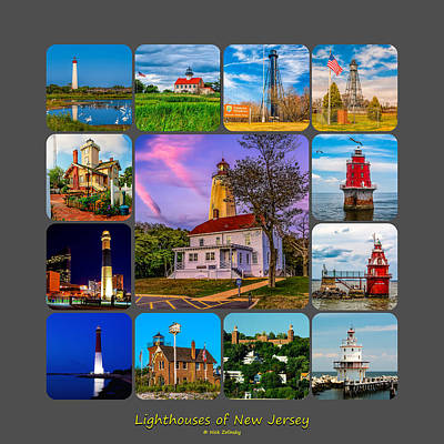 Lighthouses Of New Jersey Poster by Nick Zelinsky