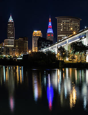 Poster featuring the photograph Lighting Up Cleveland by Dale Kincaid