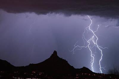 Lightnin At Pinnacle Peak Scottsdale Arizona Poster by James BO  Insogna