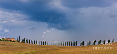 Lightning At Agriturismo Poggio Covili In The Tuscany Poster by Henk Meijer Photography
