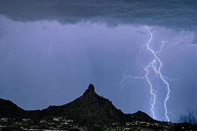 Poster featuring the photograph Lightning Bolts And Pinnacle Peak North Scottsdale Arizona by James BO Insogna