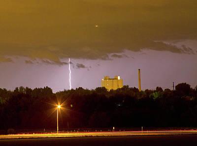 Lightning Bolts Striking In Loveland Colorado Poster