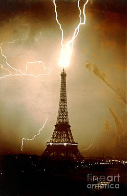 Lightning Bolts Striking The Eiffel Tower Poster by JL Charmet