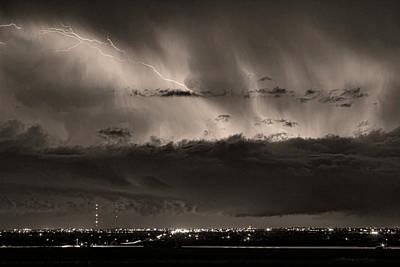 Lightning Cloud Burst Boulder County Colorado Im39 Sepia Poster by James BO  Insogna