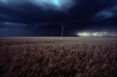 Lightning Flashes Above A Kansas Wheat Poster