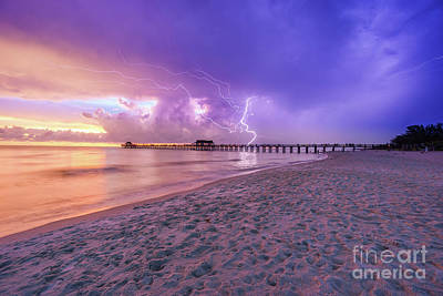 Poster featuring the photograph Lightning Naples Pier by Hans- Juergen Leschmann
