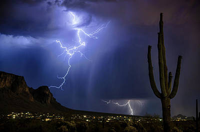 Lightning On The Mountain  Poster by Saija Lehtonen