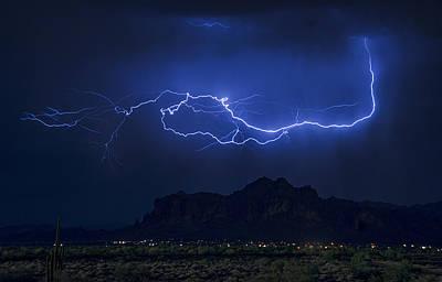 Lightning On The Superstitions  Poster by Saija  Lehtonen