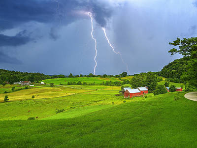 Lightning Storm Over Jenne Farm Poster